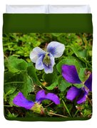 Confederate And Purple-blue Violets Duvet Cover