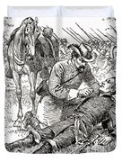 Confederate General John Brown Gordon Assists Wounded Union General Francis Channing Barlow Duvet Cover