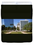 Confederate Monument With Buildings Duvet Cover