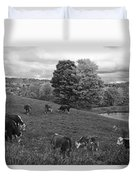 Congregating Cows. Jenne Farm Cow Reading Vermont Black And White Duvet Cover