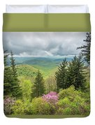 Conifers And Blooms Duvet Cover