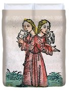 Conjoined Twins, Nuremberg Chronicle Duvet Cover
