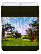 Conley Road Meadow, Oaks, Barn, Spring  Duvet Cover