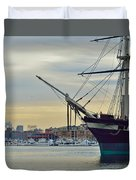 Uss Constellation And Domino Sugars - Sloop Of War Warship In Baltimore's Inner Harbor - Us Navy Duvet Cover
