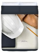 Construction Contractor Tools Resting On Top Of Blue Print Cad D Duvet Cover