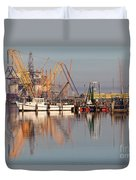 Construction Of Oil Platform With Boats Duvet Cover