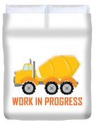 Construction Zone - Concrete Truck Work In Progress Gifts - White Background Duvet Cover