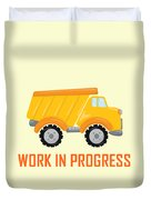 Construction Zone - Dump Truck Work In Progress Gifts - Yellow Background Duvet Cover