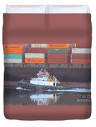 Container Ship And Tug Duvet Cover