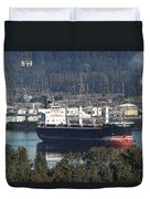 Container Ship Ready To Load More Lumber Duvet Cover