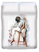 Contemplation - Nude On A Stool Duvet Cover