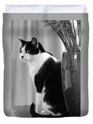 Contemplative Cat Black And White Duvet Cover