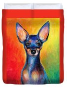 Contemporary Colorful Chihuahua Chiuaua Painting Duvet Cover