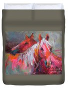 Contemporary Horses Painting Duvet Cover