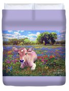 Contented Cow In Colorful Meadow Duvet Cover