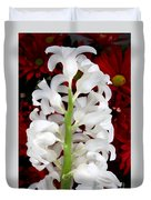 Contrasting Red And White Flowers Duvet Cover