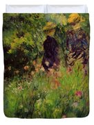 Conversation In A Rose Garden 1876 Duvet Cover