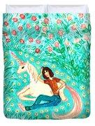 Conversation With A Unicorn Duvet Cover