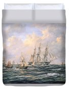 Convoy Of East Indiamen Amid Fishing Boats Duvet Cover by Richard Willis