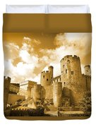 Conwy Castle And The Telford Suspension Bridge North Wales Duvet Cover