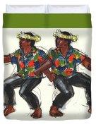 Cook Islands Ute Dancers Duvet Cover by Judith Kunzle