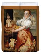Cook With Chicken. In The Background Christ With Mary And Martha Duvet Cover