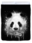 Cool Abstract Graffiti Watercolor Panda Portrait In Black And White  Duvet Cover