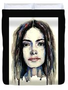 Cool Colored Watercolor Face Duvet Cover