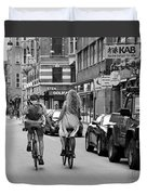 Copenhagen Lovers On Bicycles Bw Duvet Cover