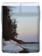 Copper Country Moonset Portrait Duvet Cover