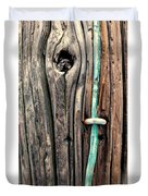 Copper Ground Wire And Knothole On Utility Pole Duvet Cover