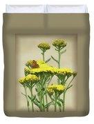 Copper On Yellow - Butterfly - Vignette 2 Duvet Cover