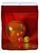 Copper Pot And Fruit Duvet Cover