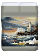 Coquille River Lighthouse At Hightide Duvet Cover