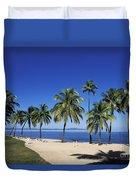 Coral Coast Palms Duvet Cover