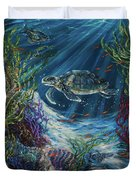 Coral Reef Turtle Duvet Cover
