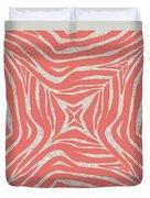 Coral Zebra Duvet Cover