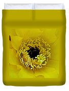 Core Of A Yellow Cactus Flower At Pilgrim Place In Claremont-california Duvet Cover