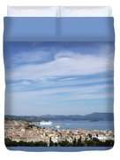 Corfu Town And Port With Cruiser Cityscape Duvet Cover