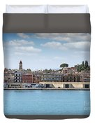 Corfu Town Port With Warehouses Duvet Cover