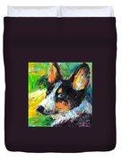 Corgi Dog Portrait Duvet Cover