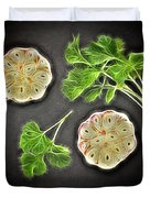 Coriander And Garlic Still Life. Duvet Cover