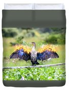 Cormorant Dries Its Wings Duvet Cover