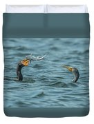 Cormorant Fish Fight Duvet Cover