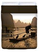 Cormorant Fishermen At Sunset Duvet Cover