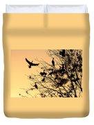 Cormorants At Sunset Duvet Cover