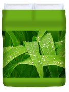 Corn Leaves After The Rain Duvet Cover
