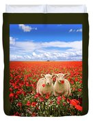 Corn Poppies And Twin Lambs Duvet Cover