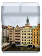 Corner Buildings In Prague Duvet Cover