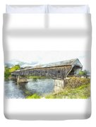 Cornish Windsor Covered Bridge Pencil Duvet Cover